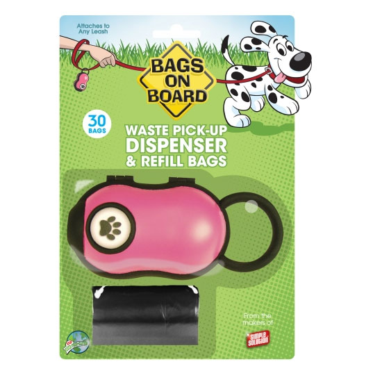 Bags on Board Pink Paw Print Dispenser 30 pk. NEW