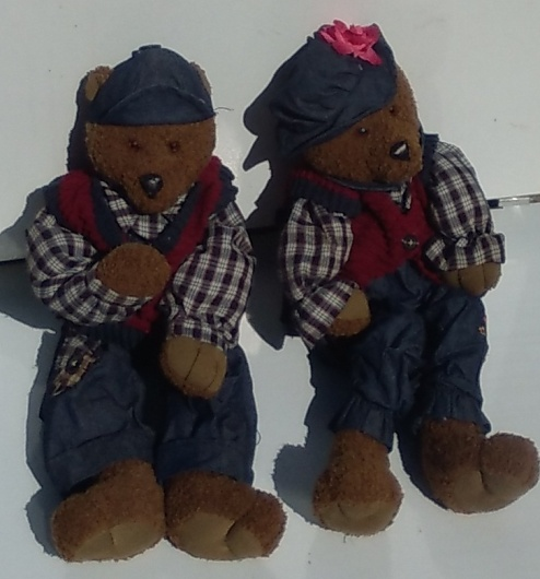 Pair Of Plush Stuffed Country Teddy Bears Boy and Girl