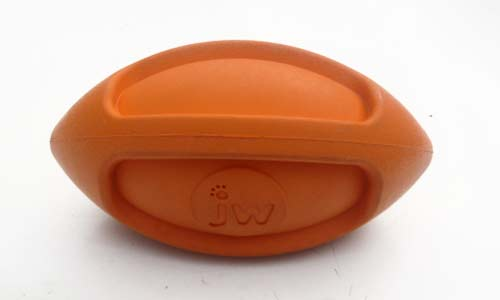JW Ball for Dogs Squeaks Orange Oval Toy